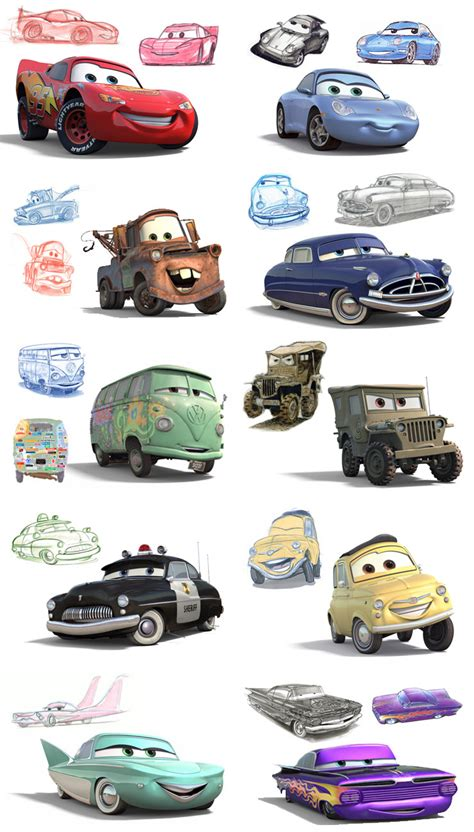 cars movie characters disney pixar cars characters sketches costumes