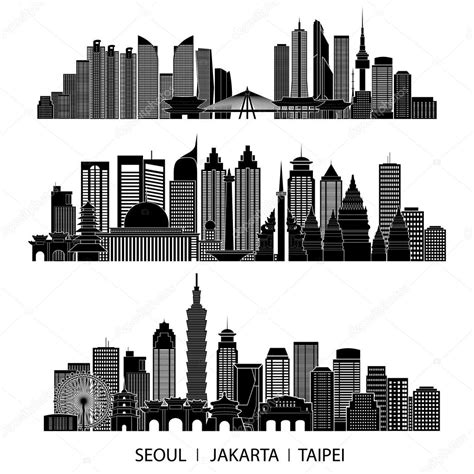 indonesia detailed skyline vector illustration stock skyline detailed silhouette set stock vector