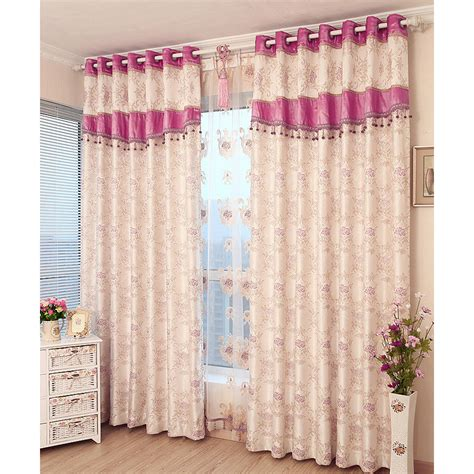 Pink Floral Curtains Pink Floral Jacquard Polyester Insulated Window Curtains