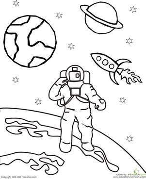 space coloring pages for kindergarten color the outer space astronaut worksheet education com