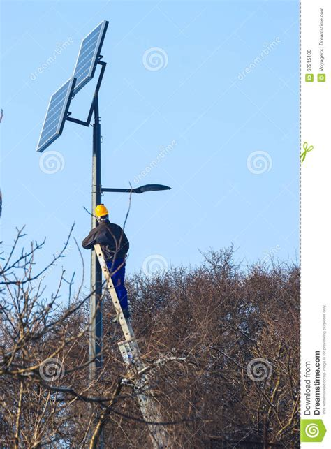 engineer at work place solar collector stock photo
