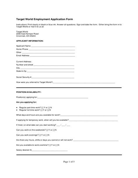 Resume Application Target Target World Employment Application Form Free