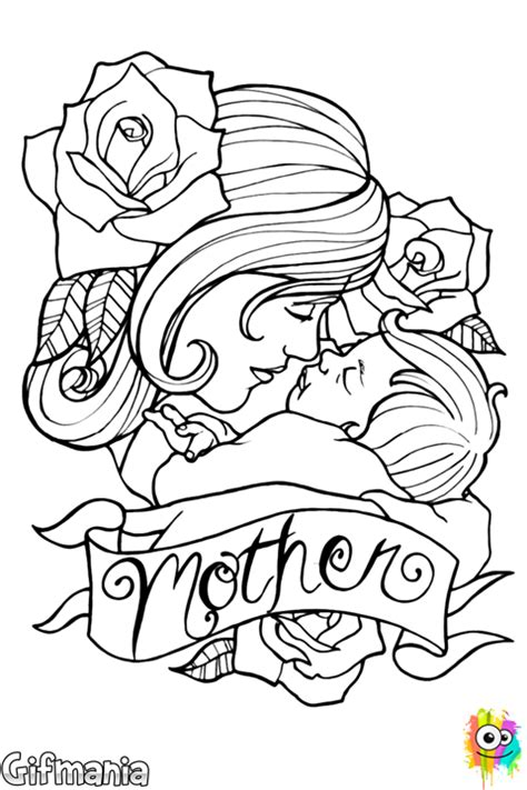 mother and baby coloring page