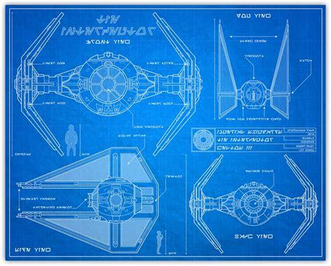 wars blueprint style print 8x10 tie fighter