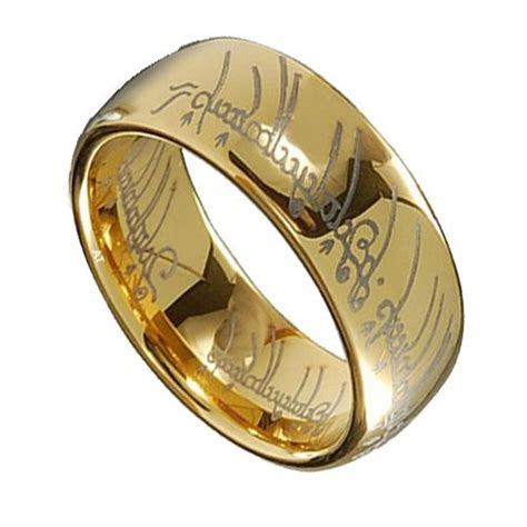 gold plated tungsten carbide lotr one ring width 8mm