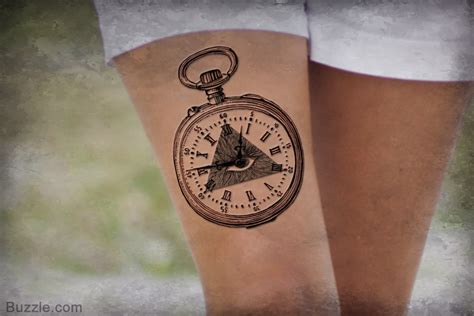ideas for a stunning pocket watch tattoo design and its