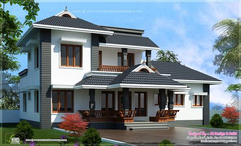 home design 2000 sq 4 bedroom sloping roof residence kerala
