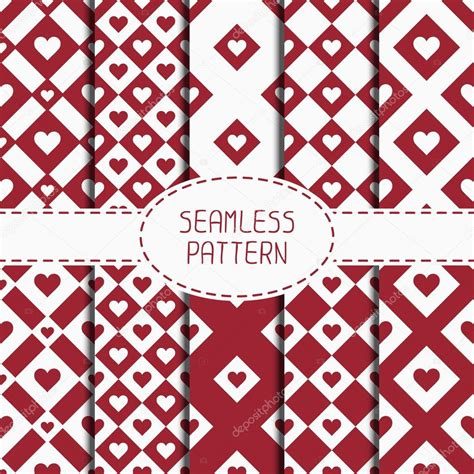wrapping paper pattern vector set of red romantic geometric seamless pattern with hearts