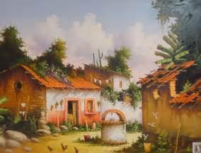 imagenes artisticas rurales pinturas cuadros lienzos casas de pueblos mexicanos