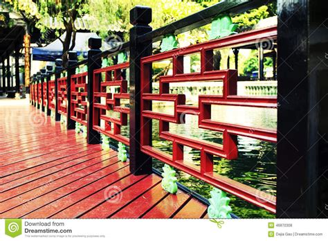 Chinese Wood Deck Wooden Patio In Garden Stock Photo