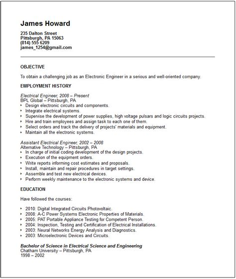 electrical engineer resume template engineering resume exles