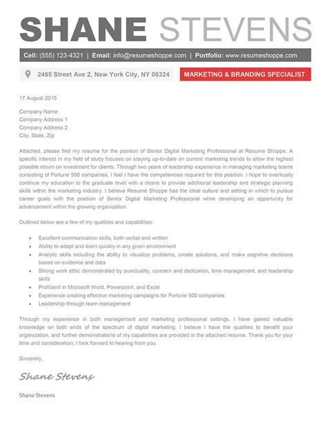 Creative Cover Letter And Resume Templates The Shane Cover Letter Creative Resume Template