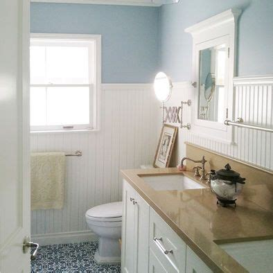 home remodeling master bathroom bead board wainscoting tan beadboard tub and shower on same wall in master