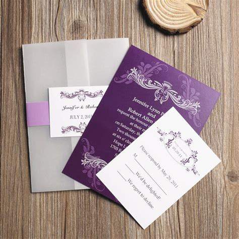 Purple Wedding Invitation Paper affordable vintage purple vellum paper pocket wedding