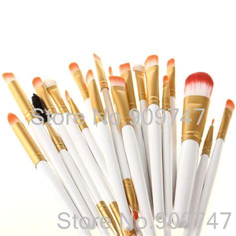 Eyeshadow Dan Harganya pro 20 pcs makeup sikat putih dan emas warna set foundation bubuk eyeshadow eyeliner lip brush