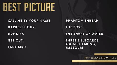oscar nominations 2018 2018 oscars nominations revealed my