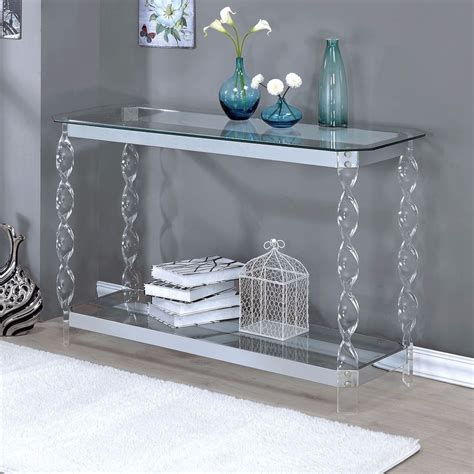 glass and chrome sofa table console tables for entryway chrome sofa table clear glass