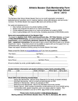 How To Make Booster Club Membership Cards Fill Online Printable Fillable Blank Pdffiller Booster Club Membership Form Template