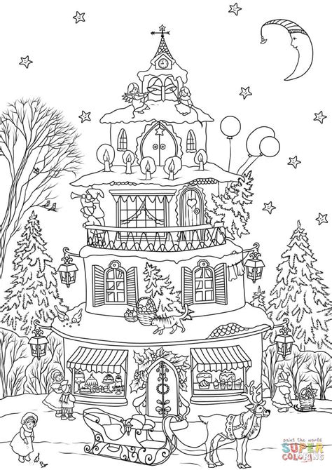 coloring pages christmas village christmas house coloring page free printable coloring pages