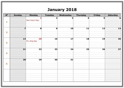 printable calendar 2018 fillable january 2018 calendar fillable calendar template letter
