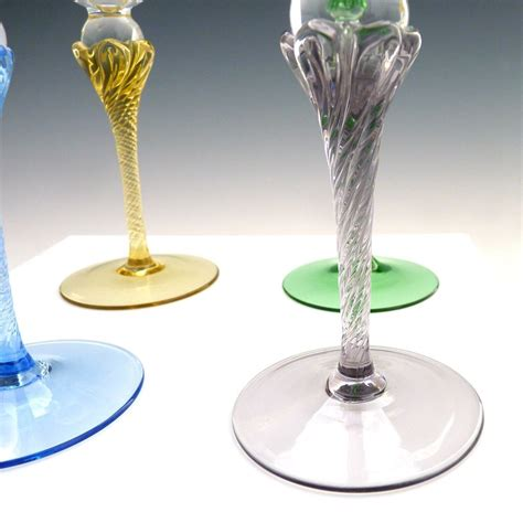 hand blown wine glasses vintage colored stem wine glasses hand blown crystal from