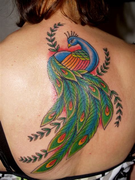 tattoo designs for female back peacock tattoos