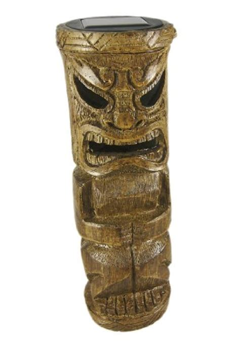 Tall Flickering Friki Tiki Wooden Solar Accent Light 29 69 Friki Tiki Solar Lights