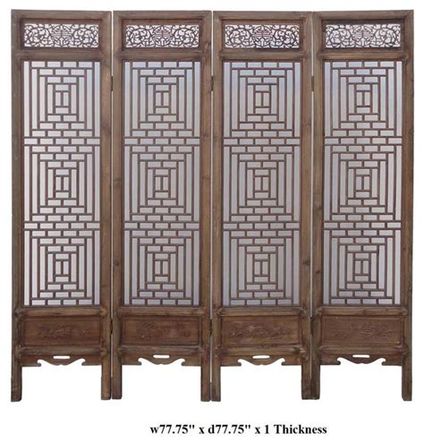 asian screen room dividers vintage two sided four season motif wooden room