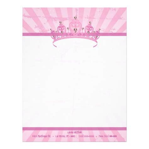 pink princess crown tiara letterhead stationery zazzle