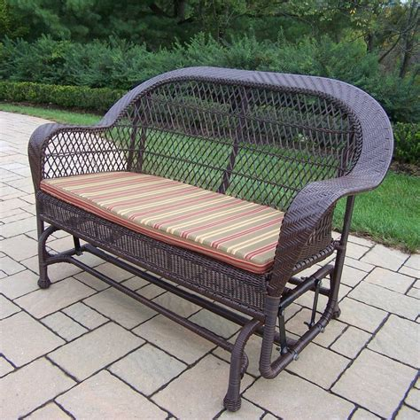 Shop Oakland Living Resin Wicker Coffee Porch Glider At Patio Swings And Gliders