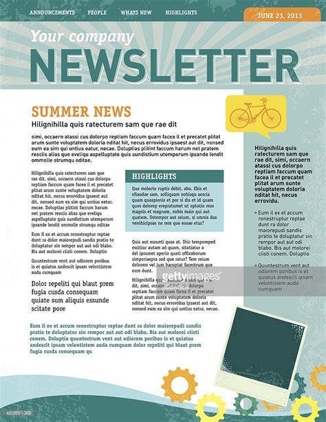 newsletter layout template company newsletter design template vector getty images