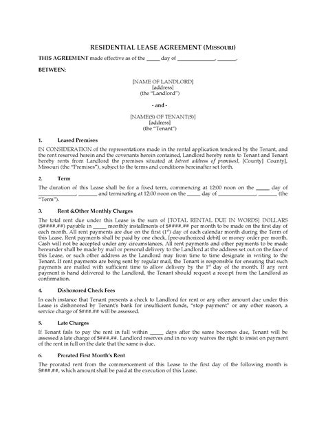 Missouri Fixed Term Residential Lease Agreement Legal Forms And Business Templates Megadox Com Missouri Lease Agreement Template