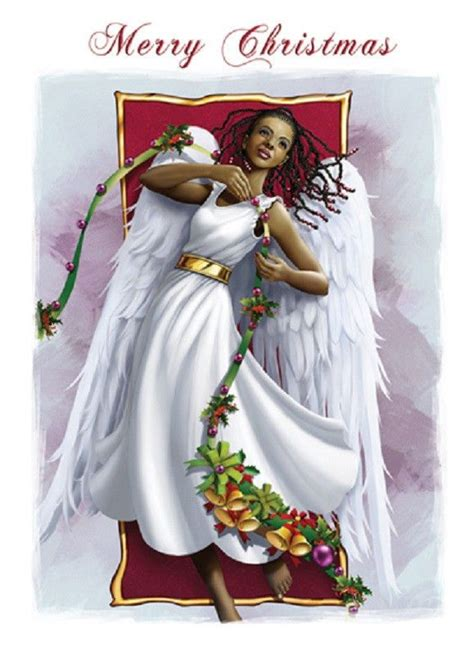 african american angel christmas greeting  folded cards env folded cards africans