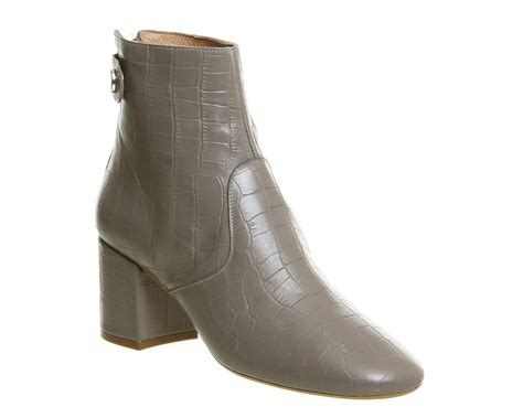 womens office jupiter block heel boots grey croc leather