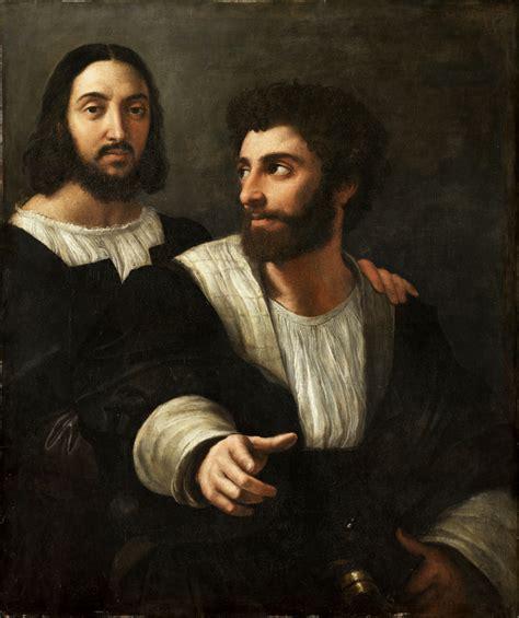 rafael retrato del papa le 243 n x con los cardenales giulio autoritratto con un amico di raffaello sanzio analisi