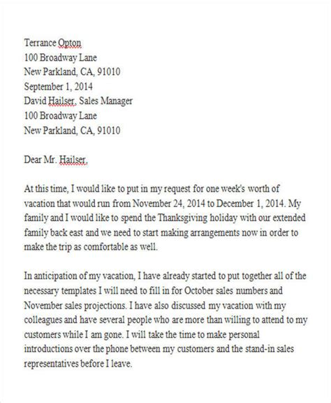 letter format for leave request best of employee leave application