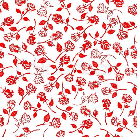 pattern over background seamless bright red roses pattern over white background