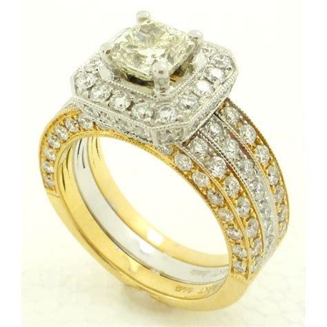Classic Halo Ring 1197 exquisite two tone engagement ring 1326