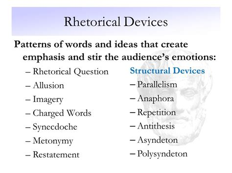 simple listing pattern of organization words persuasive appeals and rhetorical devices ppt video