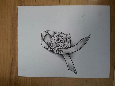 rose tattoos with ribbon cancer ribbon by magnasicparvis deviantart on