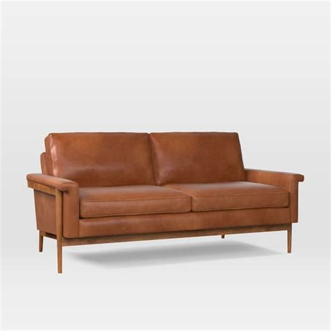 loveseat wood frame leon wood frame leather loveseat 68 quot west elm