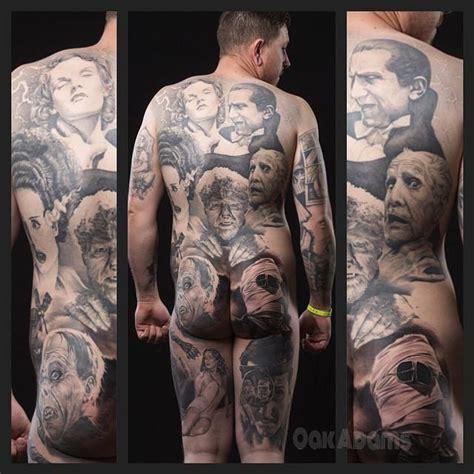 painted temple tattoo classic horror portraits bodysuit by oak