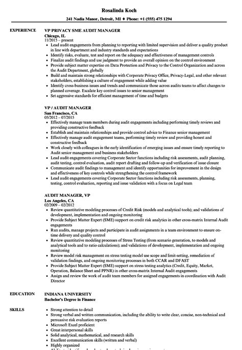 Audit Manager Sle Resume by Vp Audit Manager Resume Sles Velvet
