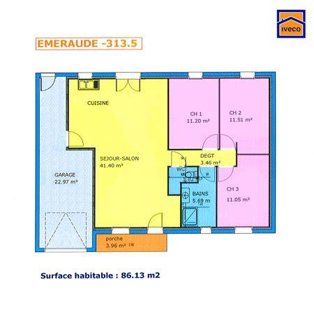 plans de maison plain pied 3 chambres plan de maison individuelle plain pied