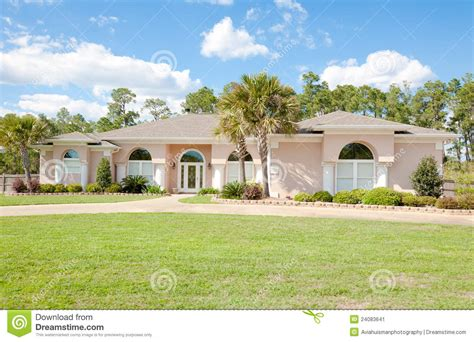 large ranch homes large spanish style ranch home stock image image 24083641