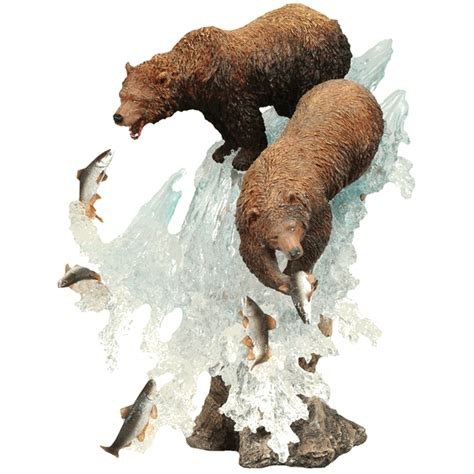 fishing grizzly bears water sculpture