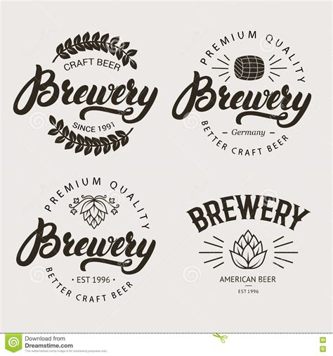 Set Of Vintage Brewery Badge Label Logo Template Designs Stock Vector Illustration Of Company Badge Template
