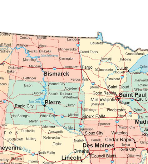 northern usa map map of dakota and minnesota afputra