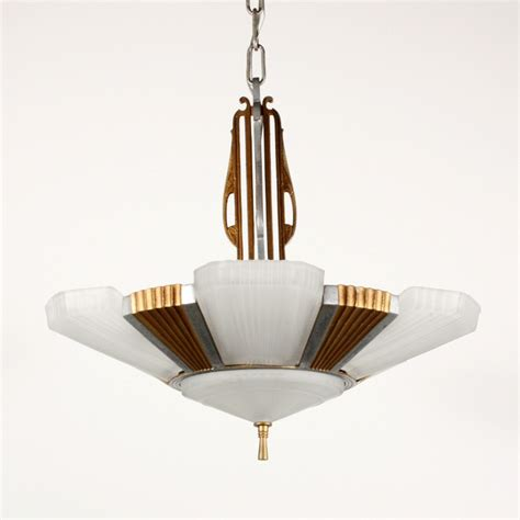 Slip Shade Chandelier Antique Deco Five Light Slip Shade Chandelier C 1930 Nc1456 Rw For Sale