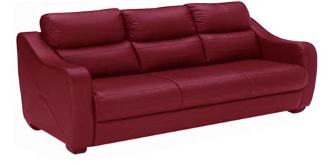 Godrej Sofa by Vida Three Seater Sofa In Burgundy Colour By Godrej